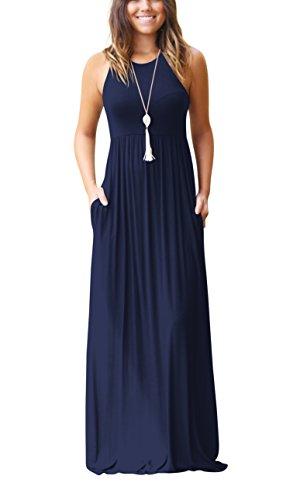 ZIOOER Damen Casual Lose Maxikleider Ärmellos Kleider Lange Kleid mit Taschen Navy Blau L (Frauen Blaue Casual-kleider Für)