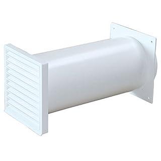 Exhaust Wallbox White Ø 150 mm TELESCOPIC Round Tube 22 bis 48 cm Return Flap 528394