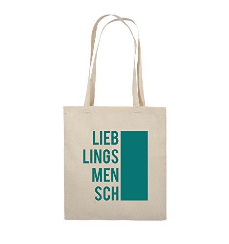 Comedy Bags - LIEBLINGSMENSCH - BLOCK - Jutebeutel - lange Henkel - 38x42cm - Farbe: Schwarz / Pink Natural / Türkis