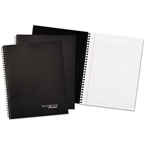 Wirebound Business Notebook, 7 1/4 x 9 1/2, Black Cover, 80 Sheets, 3/Pack by Cambridge Limited