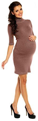 Zeta Ville Maternité - Mini robe en maille grossesse avec col roulé - femme 125c Cappuccino