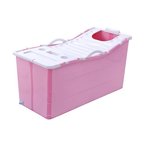 GY Faltbare Badewanne, Tragbare Badewanne Für Erwachsene. Plastikabdeckung Haus Ganzkörper, Kinder Badeeimer, Erwachsene Wanne Verdickt, 2 Farben, 117 * 65 * 60cm (Farbe : Pink-with lid)