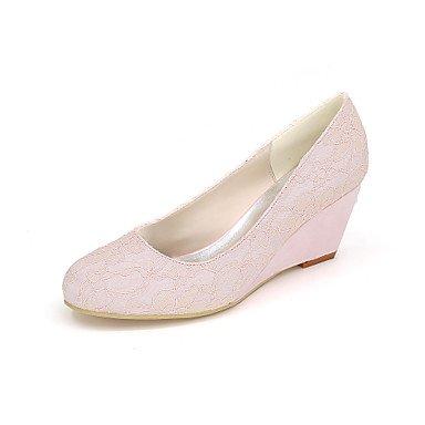 Wuyulunbi@ Scarpe donna raso Primavera Estate della pompa base scarpe matrimonio Cuneo Null tallone punta tonda Strass Null per la festa di nozze e la sera. Rosa
