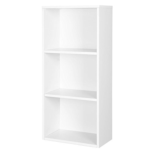 SONGMICS 3 Fächern Bücherregal Standregal Belastung/Regalboden: 30 kg, für Diele, Flur büro oder Loft 42,5 x 80 x 29,5 cm weiß LBC103W (Hohe Bücherregal)