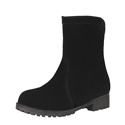 Mee Shoes Damen chunky heels Plateau Nubukleder halbschaft Stiefel Schwarz