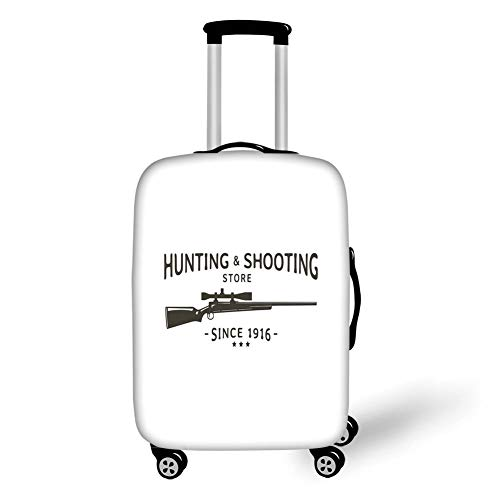 Travel Luggage Cover Suitcase Protector,Hunting Decor,Vintage Logo Design for Hunting and Shooting Store with Rifle Silhouette Decorative,Black and White,for Travel Logo Generator