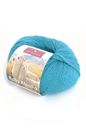 APU KUNTUR 100% Baby-Alpaka Wolle AKTIONSPREIS | Strick-Häkel-Garn weich, warm und kratzfrei | Vorteils- 5er-Pack | 100m, Nadel 4 | wunderschöne Farben zum angenehmen stricken und häkeln | türkis -