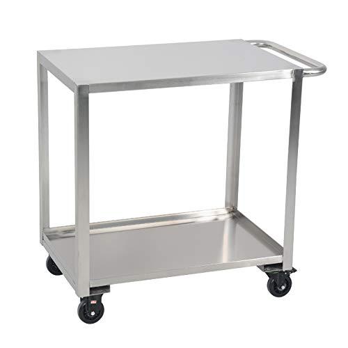 Unbekannt Edelstahl-Arbeitstisch – Lebensmittelzubereitung für den gewerblichen Gebrauch – 2-stufiger Rollwagen Multifunktions-Servierwagen Küchen-Rollwagen mit einem