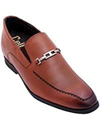 Formal Loafer Elevator Height Increasing Shoes In Tan With Touch Of Stylish Look