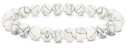 BE STEEL Schmuck 6Pcs Natur Stein Armbänder für Herren und Damen Armband Mala Elastisch 8mm Weißer Türkis - Mit Türkis-perlen Armband