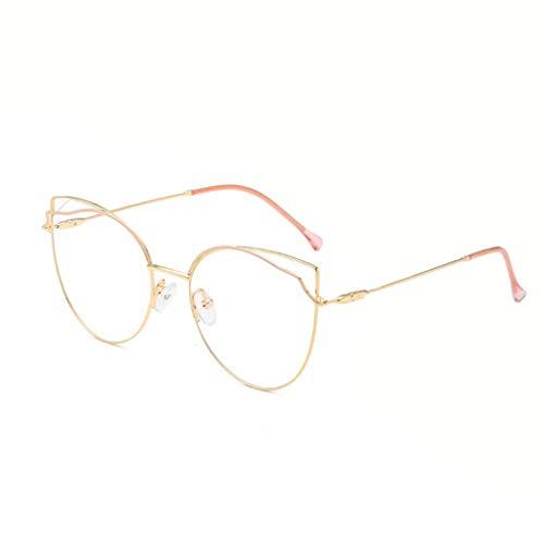 HHL Süße Gläser Mit Feinem Metall, Unregelmäßige Brillenfassungen, Nicht Verschreibungspflichtige Gläser, Sechs Farben (Farbe : Pink Gold)