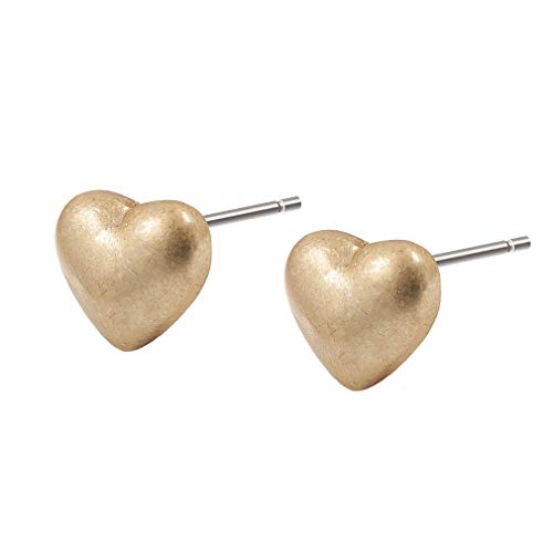 Sence Copenhagen Damen Herz Ohrstecker Gold aus der Essential Earring-Serie mit einem 3D Herz aus Messing vergoldet - Z450