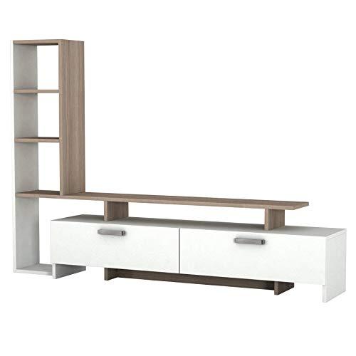 Alphamoebel TV Board Lowboard Fernsehtisch Fernsehschrank Sideboard, Fernseh Schrank Tisch für Wohnzimmer I Weiß Cordoba I Simal 1919 I 168,2 x 22 x 120 cm