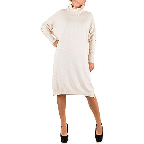 Damen Kleid, ELASTISCHES STRICK KLEID, KL-27694, Creme, M/L