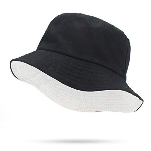 nama Eimer Reversible Faltbare Solid Black White Flat Top Fischer Cap für Männer Frauen Military ()