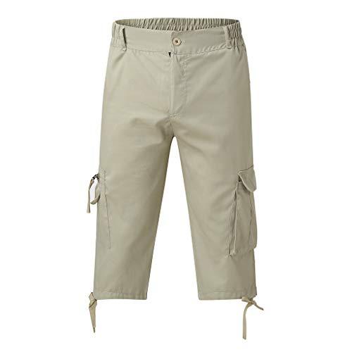 LIGESAY Herren Shorts Elasticated Waist Combat 3/4 Long Knee Length Shorts Hose Badeshorts Sport Slim Compression Freizeit Bequem Flex Kargo Handball Workwear -