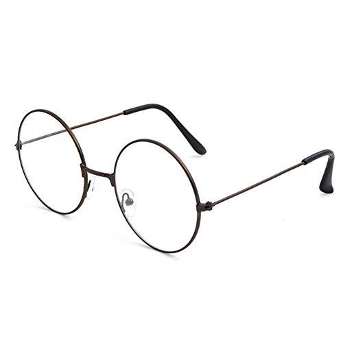 Man9Han1Qxi Retro Style Vintage Frauen Männer Runde Kreis Metall Brillen Optische Gläser Brillengestell Coffee