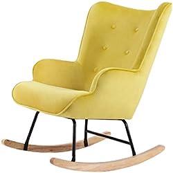 zons Fauteuil à bascule rocking-chair JAUNE en Velours avec pieds en bois et métal Canapés, 1