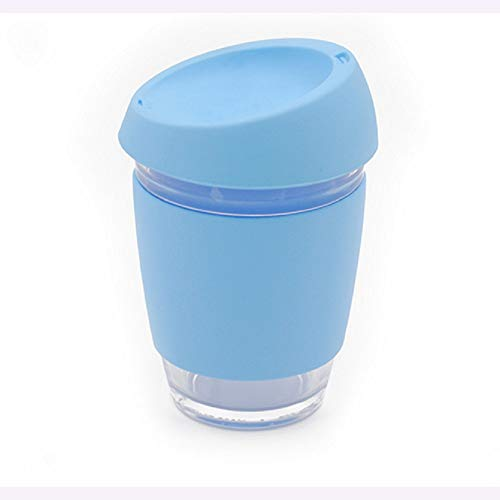Glass Coffee Cups Tea Cups With Silicone Lid Travel Cup Cafe Work Spill Proof Coffee Mugs For Latte Cappuccino Espresso Soft Drinks12oz/350ml (Light blue) Light Blue Cup