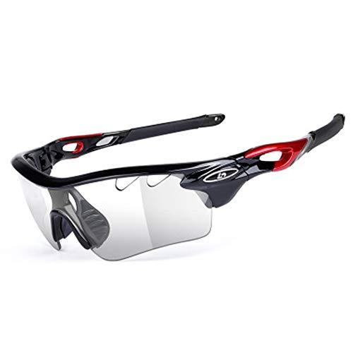 W.zz Intelligente farbwechselnde Fahrradbrille Professionelle Polarisationsbrille mit Sonnenbrille TR90 Material Mehrfarbig optional,BlackRed