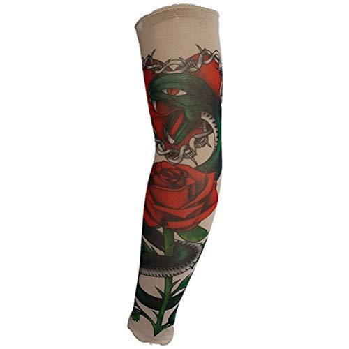 1 para Neuheit Designs Rock-Fake Tattoo Ärmel Arme/Mode Marken Beine Strümpfe Stretch Nylon Tattoo Kostümparty Temporäres Kleid Kostüm Mehrere Stile Tattoos Ärmel (Color : D92-1, Size : Size) - Armee Design