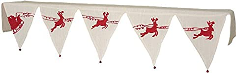 Xia Home Fashions Santa's Sleigh with Bells and Reindeer Crewel