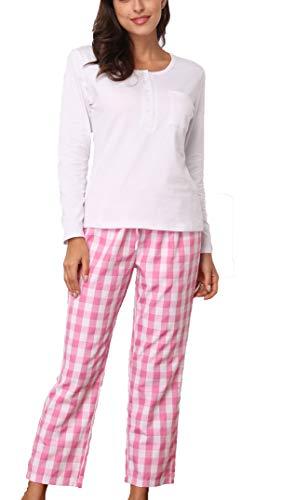 Giorzio Damen Baumwolle Schlafanzug Herbst-Winter Nachtwäsche Langarm Pyjama Zweiteiliger O-Ausschnitt Schlafoveralls Top Hose Set Weiß L