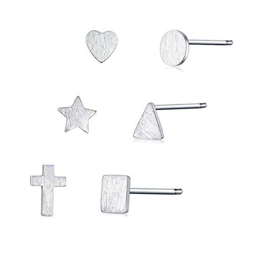 MASOP 6 Stück Ohrstecker Kleine Ohrringe Set Herz Dreieck Rund Stern Quadrat Kreuz 925 Sterling Silber (Quadrat-stern)
