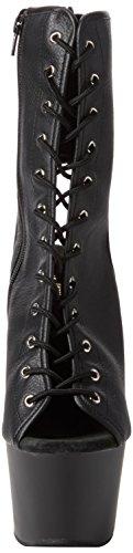 Pleaser Damen Adore-1016 Stiefel Schwarz (Blk Faux Leather/Blk Matte)