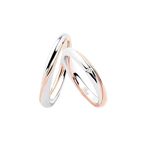 Fedi polello in oro bianco e oro rosa 18ct 750/1000 e diamanti