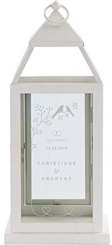 LAUBLUST Laterne zur Hochzeit mit Gravur - Vogelpärchen - ca. 16x16x37cm, Weiß, Metall - Personalisiertes Geschenk