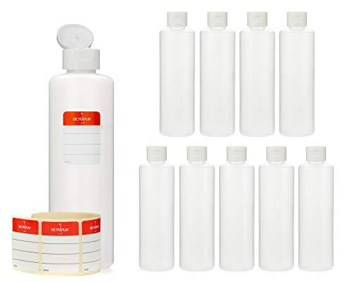 Octopus 10 x 250 ml Kunststoffflaschen, HDPE Plastikflaschen mit weißem Klappverschluss, Leerflaschen mit weißem Scharnierverschluss, Rundflaschen inkl. 10 Beschriftungsetiketten -