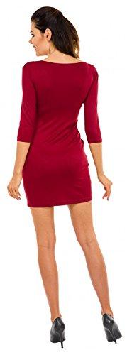 Zeta Ville - maternité robe de grossesse à taille froncée poches - femme - 252c Cramoisi