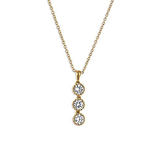 """Fashionvictime - Pendenti Per Le Donne - """"Eclats Diamant"""" - Placcato Oro - Zirconia Cubica - Gioielli Senza Tempo"""