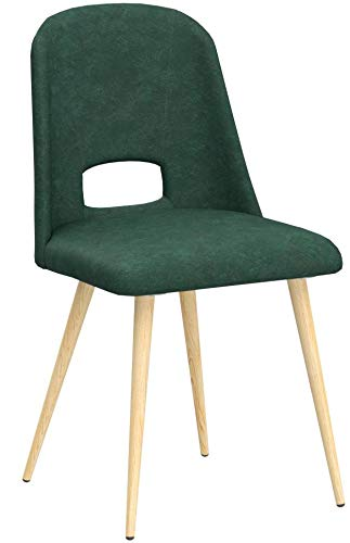 MCombo 4 x Esszimmerstuhl Polsterstuhl Küchenstuhl Lehnstuhl Wohnzimmerstuhl Samtstoff grün