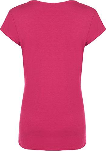 WearAll - Femmes Buttefly Imprimer Manches Courtes T-Shirt Baggy Top - Femmes - Hauts - Tailles 42-48 Cerise