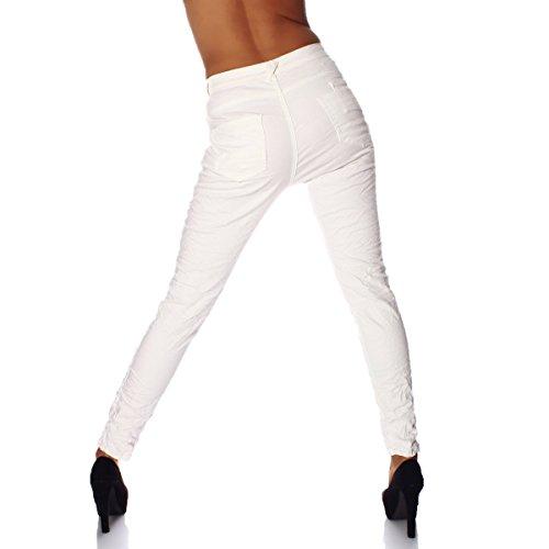 Fashion4Young - Jeans - Taille empire - Femme noir bleu foncé L=42 Weiß