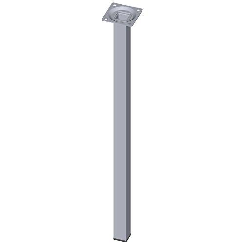 Element System 4 unidades de pata de tubo de acero de tipo cuadrado/Patas de mesa/Patas de mueble/incluyendo placa para atornillar / 50 cm de largo/cromo / 4 colores / 10 tamaños