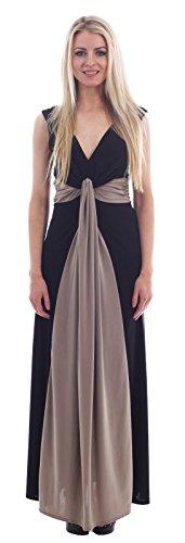 Chocolate Pickle ® Ladies Illusion Contrast Boob Knot Panel Plus Größe langes Abend-Maxi (Grecian Kleid Plus Größe)