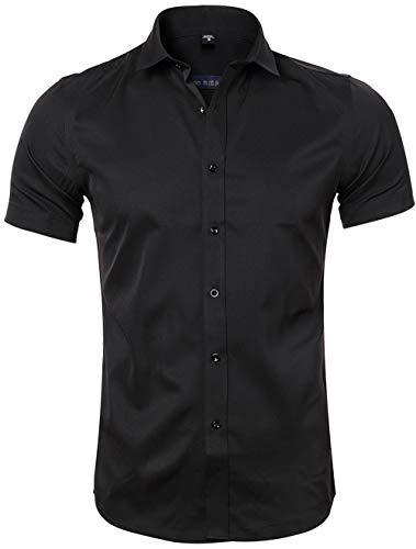 Camicia in Fibra di bambù da Uomo, Manica Corta, Slim Fit, T-Shirt Formale per Uomo,...