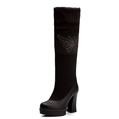 AllhqFashion Damen Hoher Absatz Eingelegt Ziehen auf Stiefel mit Beschlagene Strass, Weinrot, 35