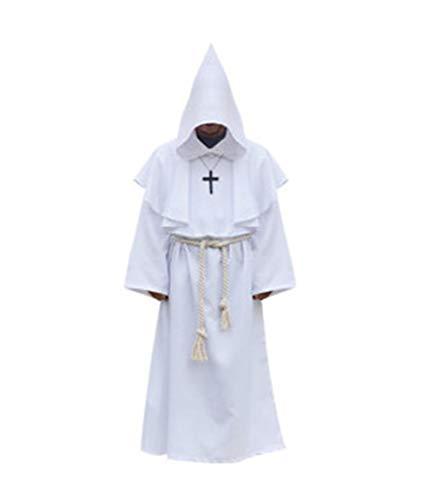 Halloween Cosplay Kostüm Alte Dekoration Gown Mönch Anzug Hexe Anzug Priester Cos Kleidung,White,M