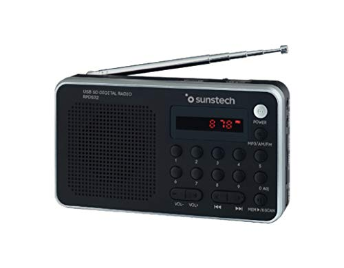 Oferta de Sunstech RPDS32SL - Radio portátil digital (AMFM PLL, altavoz, USB, SD, MMC, 1.5 W RMS) color plata