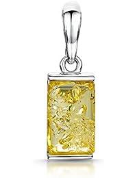 a576f28d1c Amberta - Ciondolo rettangolare classico in argento sterling 925 con ambra  baltica