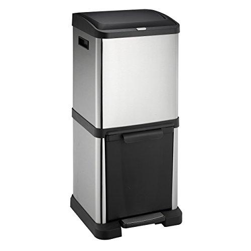 Lyndan - Système de gestion des déchets Totem Tour 34L Empreinte Digitale Acier Inoxydable, Poubelle à Pédale / Bouton-Poussoir, Double, Garage, Remise et Usage à Domicile Recyclage des Déchets