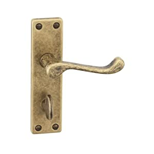 URFIC 14-100-325-AB Victorian Scroll Antique Copper Bathroom Door Handle Set