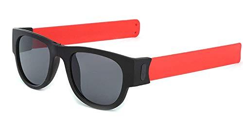 TONKOW Polarisierte Faltbare Sonnenbrille kreative Armband Brille fahrbrille handliche Sonnenbrille schnapparmband biegen Falten und Clip auf Handgelenk knöchel Fahrrad für Erwachsene Kinder Red