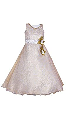 My Lil Princess Cute & Pretty Kids Baby Girls Fairy Frock Dresses for Birthday Party & Festivals and Special Functional Wear Size 2-10Years Pearls Gown