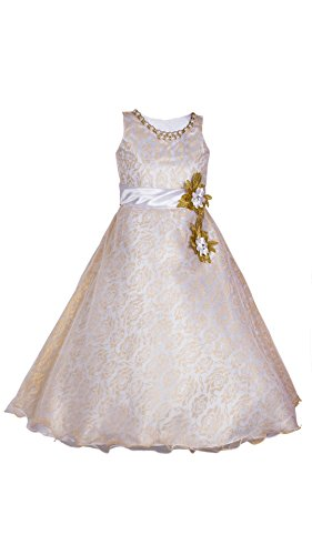 My Lil Princess Girls' Dress (My Lil Princess_White Two Pearls_32_White_8-9 Years)