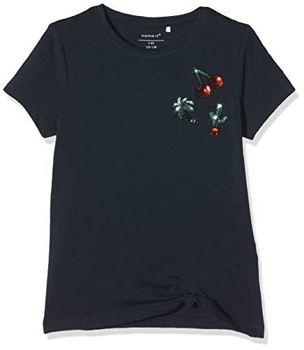 NAME IT Mädchen T-Shirt NKFDAFINA SS TOP, Blau (Dark Sapphire), 146 (Herstellergröße: 146-152)